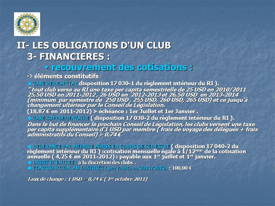 II- LES OBLIGATIONS D UN CLUB 3- FINANCIERES : recouvrement des cotisations : RECAPITULATIF DES ELEMENTS INCOMPRESSIBLES ( par membre) : frais de fonctionnement du club exclus.