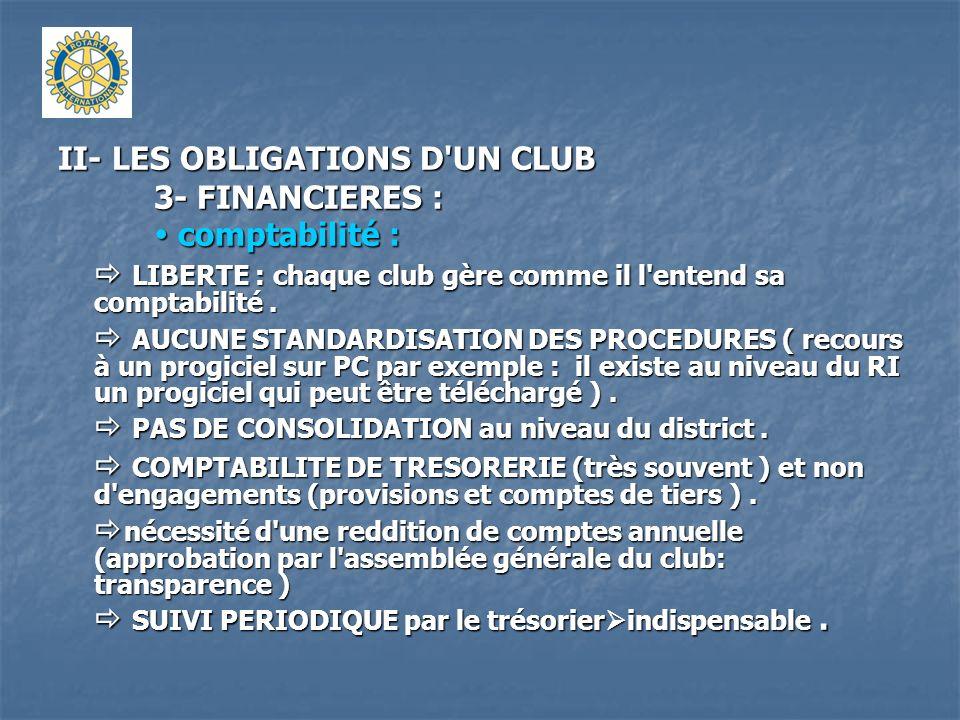 II- LES OBLIGATIONS D'UN CLUB 3- FINANCIERES : comptabilité : comptabilité : LIBERTE : chaque club gère comme il l'entend sa comptabilité. LIBERTE : c