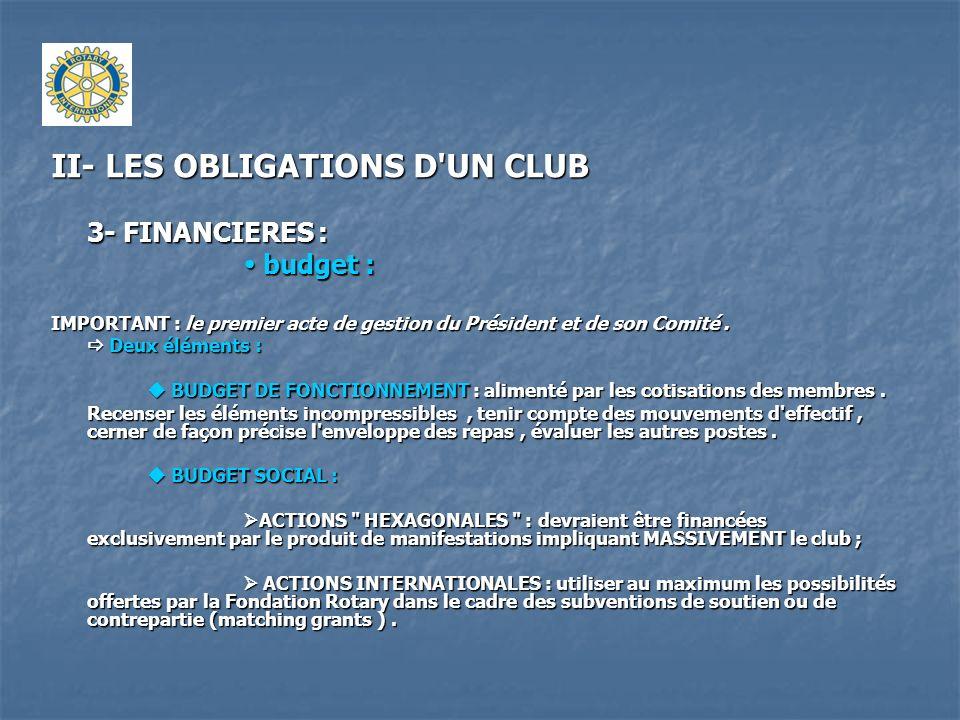II- LES OBLIGATIONS D'UN CLUB 3- FINANCIERES : budget : budget : IMPORTANT : le premier acte de gestion du Président et de son Comité. Deux éléments :