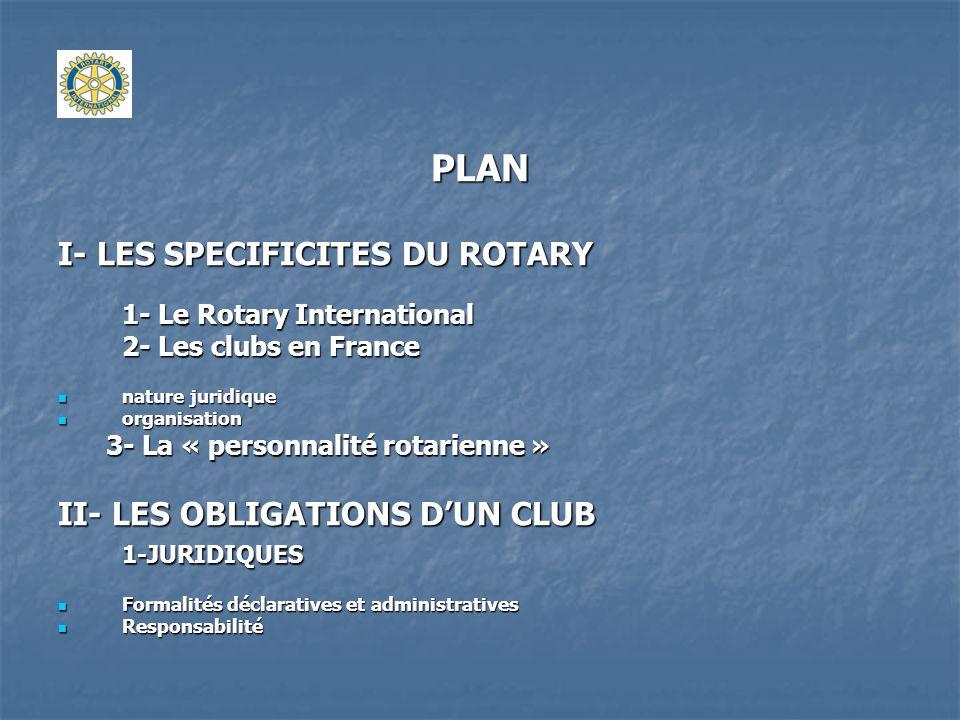 PLAN I- LES SPECIFICITES DU ROTARY 1- Le Rotary International 2- Les clubs en France nature juridique nature juridique organisation organisation 3- La