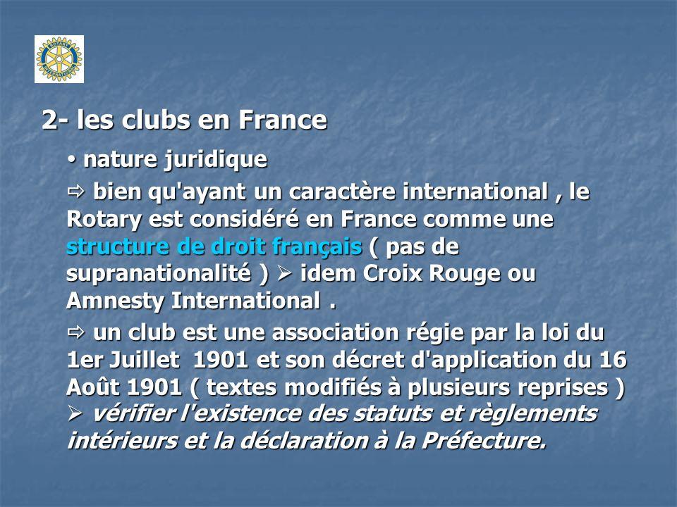 2- les clubs en France organisation organisation les clubs sont fédérés en districts ; les clubs sont fédérés en districts ; le district est géré par une association loi 1901 (ACRODI) dont les membres sont les clubs (18 Districts) ; le district est géré par une association loi 1901 (ACRODI) dont les membres sont les clubs (18 Districts) ; au niveau national ( et + ) structure informelle : le CODIFAM ( Comité consultatif des districts du Rotary International de France, d Afrique du Nord, d Andorre, de Monaco et des pays francophones ou partiellement francophones).