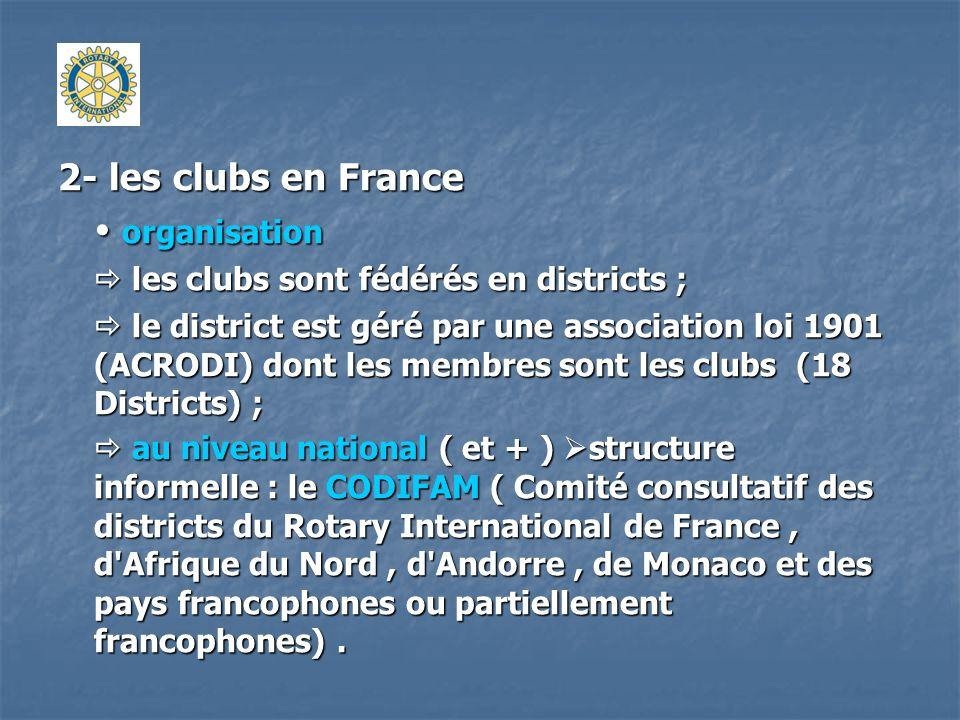 2- les clubs en France organisation organisation les clubs sont fédérés en districts ; les clubs sont fédérés en districts ; le district est géré par