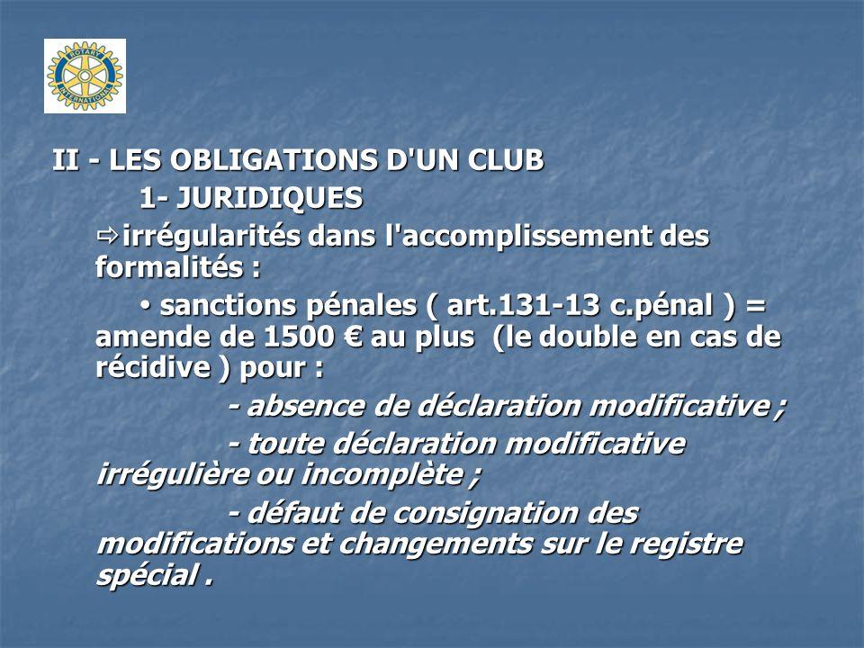 II - LES OBLIGATIONS D'UN CLUB 1- JURIDIQUES irrégularités dans l'accomplissement des formalités : irrégularités dans l'accomplissement des formalités