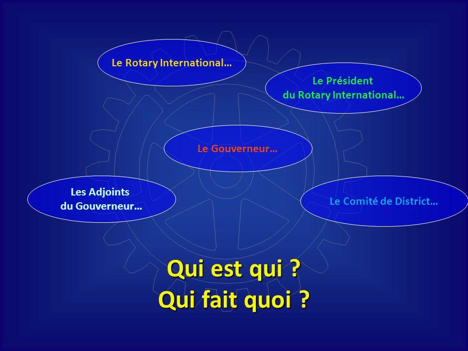 Qui est qui ? Qui fait quoi ? Le Rotary International… Les Adjoints du Gouverneur… Le Gouverneur… Le Comité de District… Le Président du Rotary Intern
