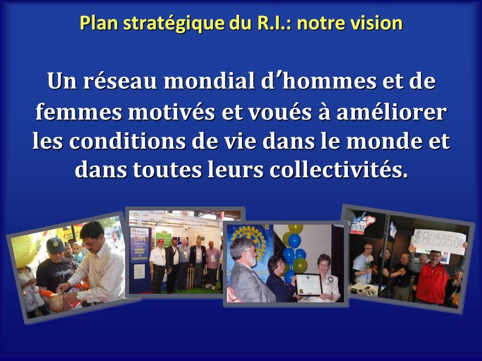 Plan stratégique du R.I.: notre mission Servir autrui, promouvoir lintégrité et favoriser lentente internationale, la bonne volonté et la paix au travers de notre réseau de décideurs locaux, civiques et professionnels.