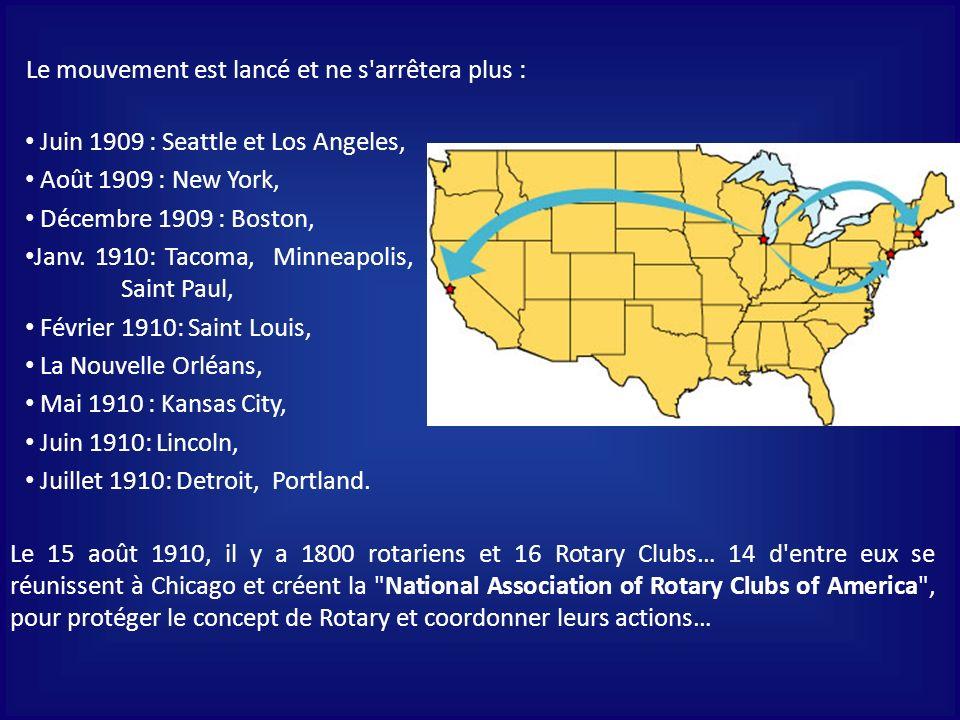 Le mouvement est lancé et ne s arrêtera plus : Juin 1909 : Seattle et Los Angeles, Août 1909 : New York, Décembre 1909 : Boston, Janv.