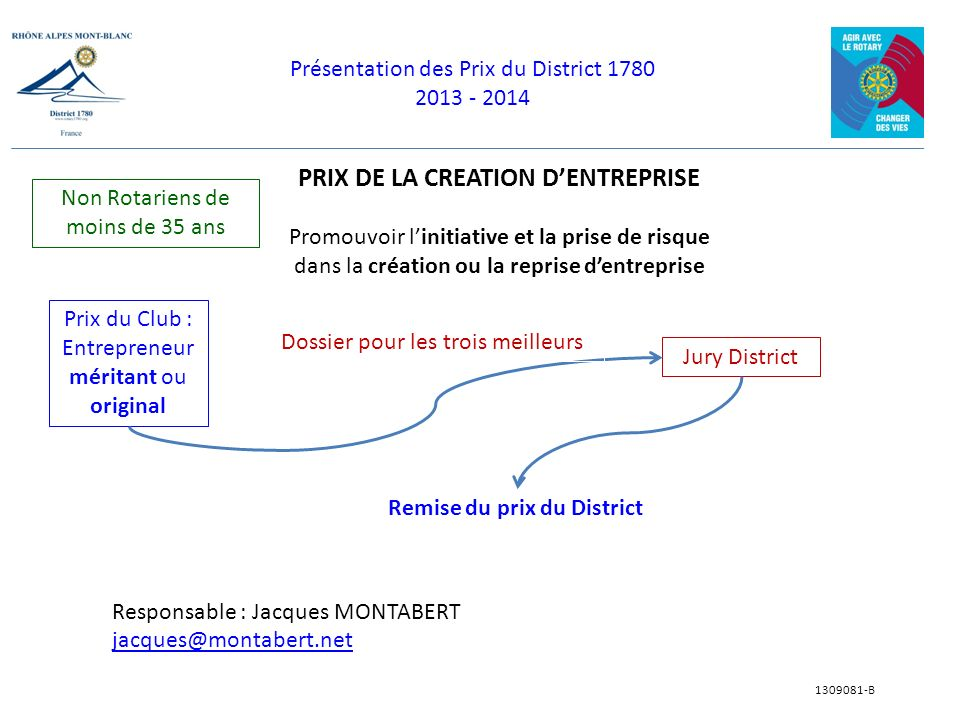 Présentation des Prix du District 1780 2013 - 2014 1309081-B PRIX DE LA CREATION DENTREPRISE Promouvoir linitiative et la prise de risque dans la créa