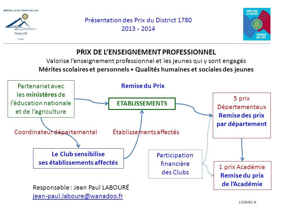 Présentation des Prix du District 1780 2013 - 2014 1309081-B PRIX DE LENSEIGNEMENT PROFESSIONNEL Valorise lenseignement professionnel et les jeunes qu