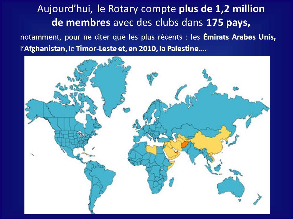 Aujourdhui, le Rotary compte plus de 1,2 million de membres avec des clubs dans 175 pays, notamment, pour ne citer que les plus récents : les Émirats
