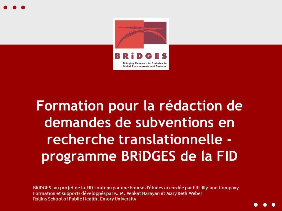 Formation pour la rédaction de demandes de subventions en recherche translationnelle - programme BRiDGES de la FID BRiDGES, un projet de la FID souten