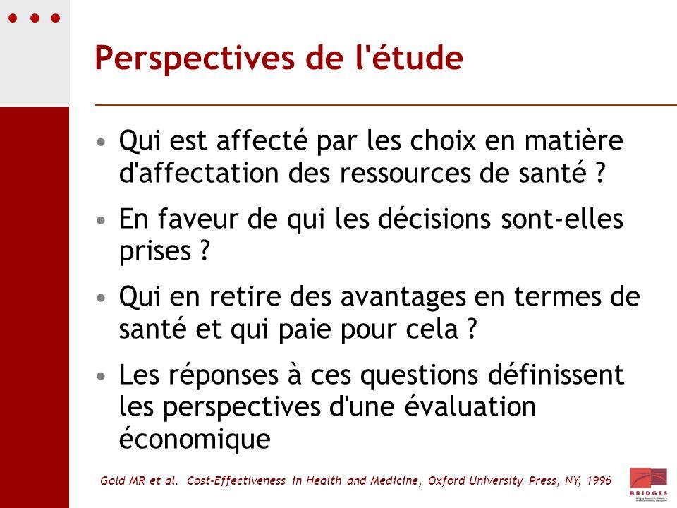 Perspectives de l'étude Qui est affecté par les choix en matière d'affectation des ressources de santé ? En faveur de qui les décisions sont-elles pri