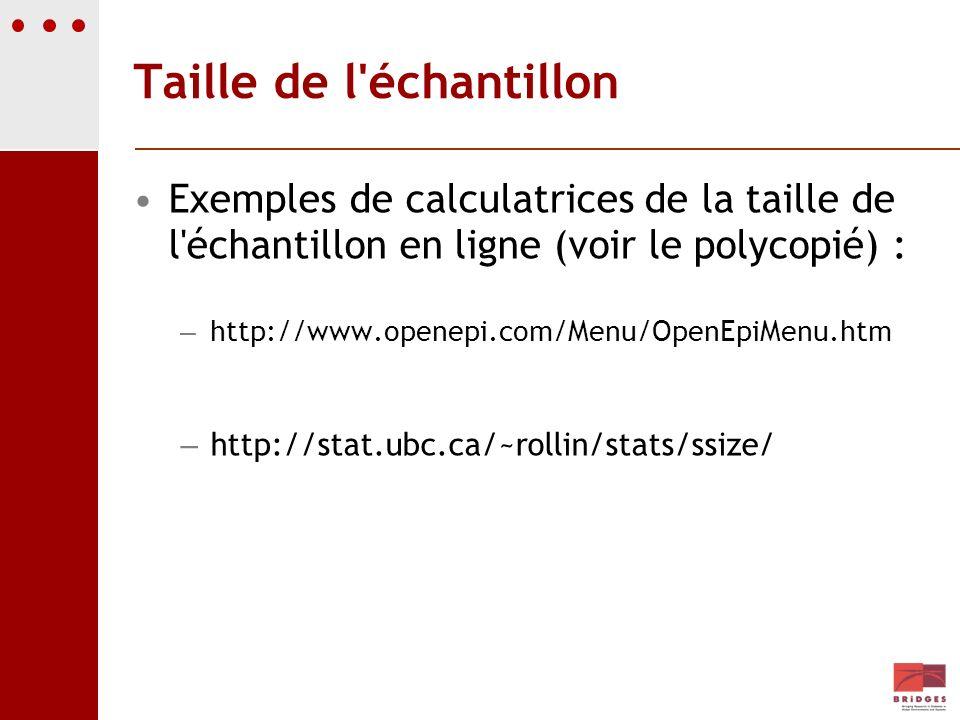 Taille de l'échantillon Exemples de calculatrices de la taille de l'échantillon en ligne (voir le polycopié) : – http://www.openepi.com/Menu/OpenEpiMe