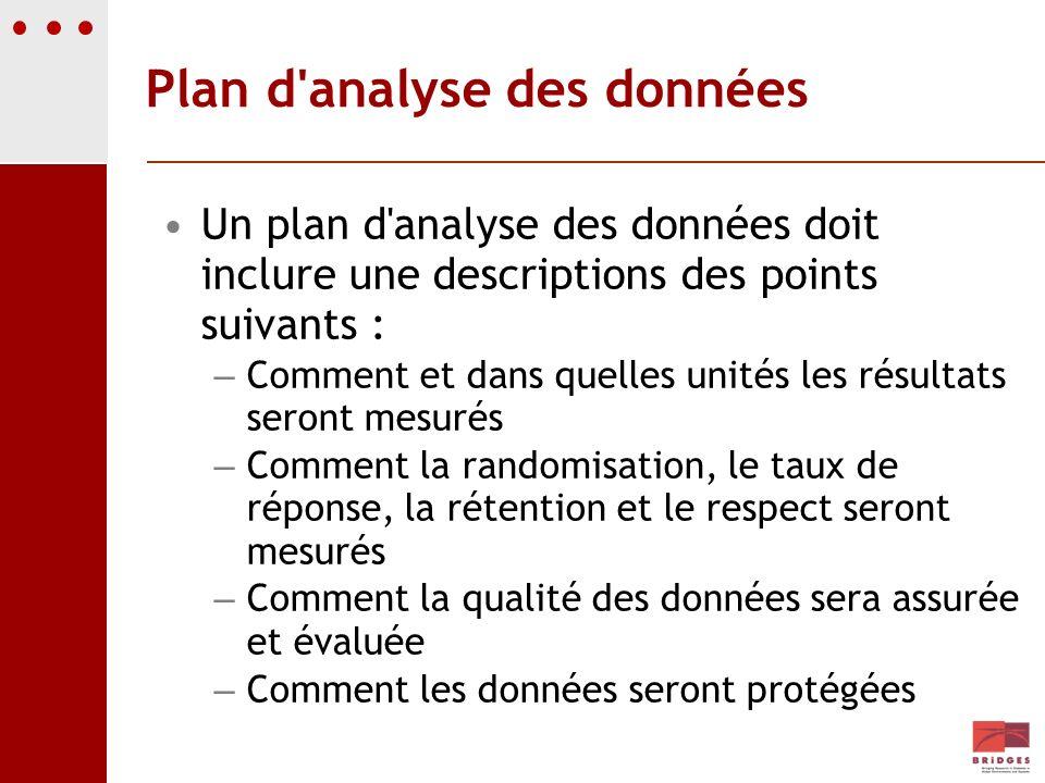Plan d'analyse des données Un plan d'analyse des données doit inclure une descriptions des points suivants : – Comment et dans quelles unités les résu