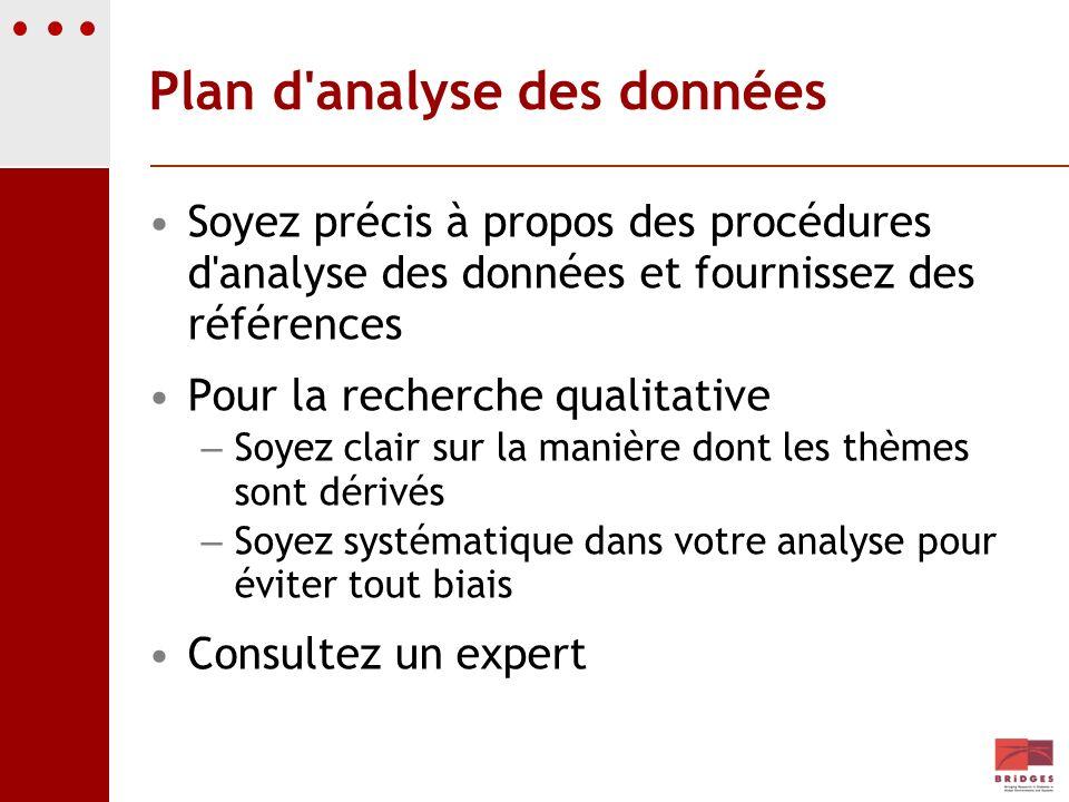 Plan d'analyse des données Soyez précis à propos des procédures d'analyse des données et fournissez des références Pour la recherche qualitative – Soy