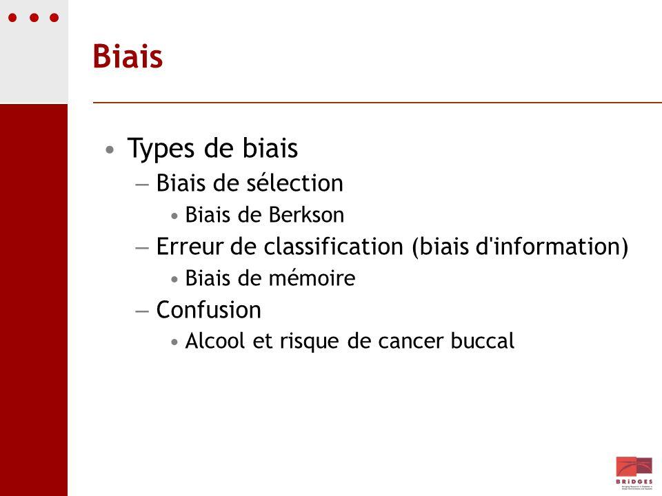 Biais Types de biais – Biais de sélection Biais de Berkson – Erreur de classification (biais d'information) Biais de mémoire – Confusion Alcool et ris