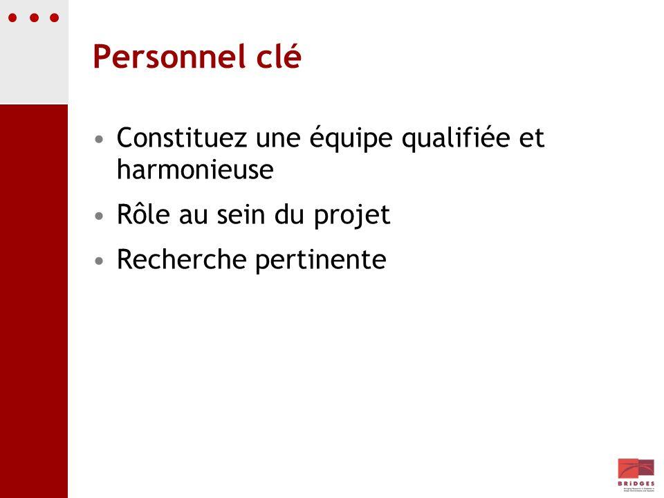 Personnel clé Constituez une équipe qualifiée et harmonieuse Rôle au sein du projet Recherche pertinente