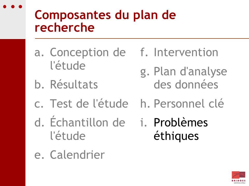 Composantes du plan de recherche a.Conception de l'étude b.Résultats c.Test de l'étude d.Échantillon de l'étude e.Calendrier f. Intervention g. Plan d