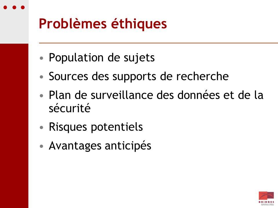 Problèmes éthiques Population de sujets Sources des supports de recherche Plan de surveillance des données et de la sécurité Risques potentiels Avanta