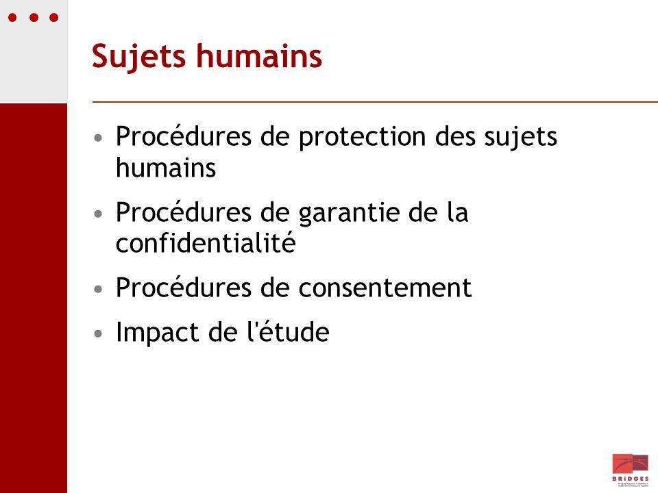 Sujets humains Procédures de protection des sujets humains Procédures de garantie de la confidentialité Procédures de consentement Impact de l'étude
