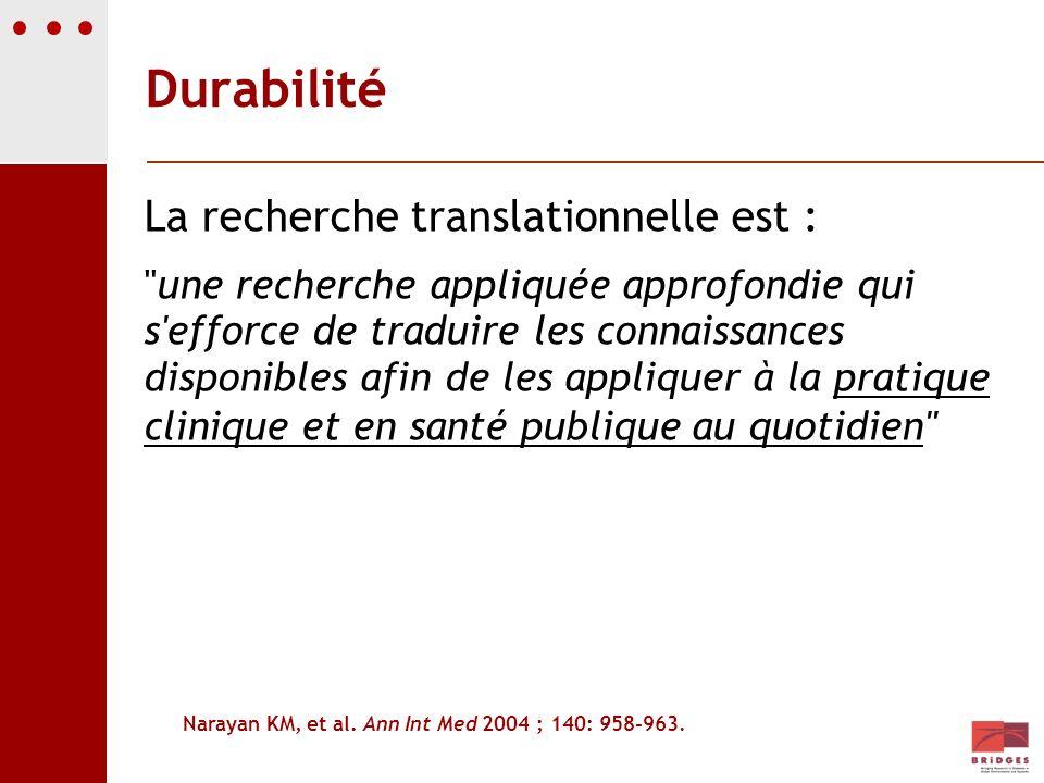 Durabilité La recherche translationnelle est :