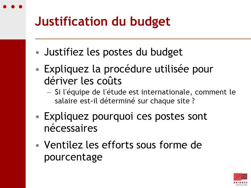 Justification du budget Justifiez les postes du budget Expliquez la procédure utilisée pour dériver les coûts – Si l'équipe de l'étude est internation