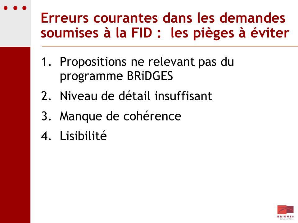 Erreurs courantes dans les demandes soumises à la FID : les pièges à éviter 1.Propositions ne relevant pas du programme BRiDGES 2.Niveau de détail ins