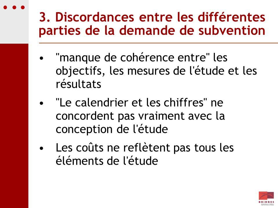 3. Discordances entre les différentes parties de la demande de subvention