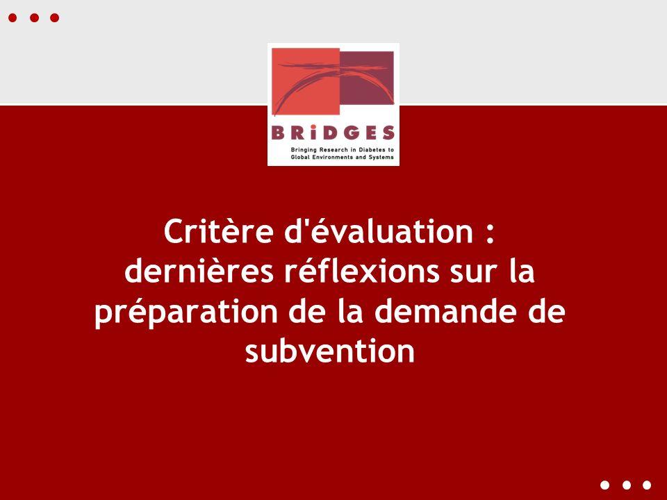Critère d'évaluation : dernières réflexions sur la préparation de la demande de subvention
