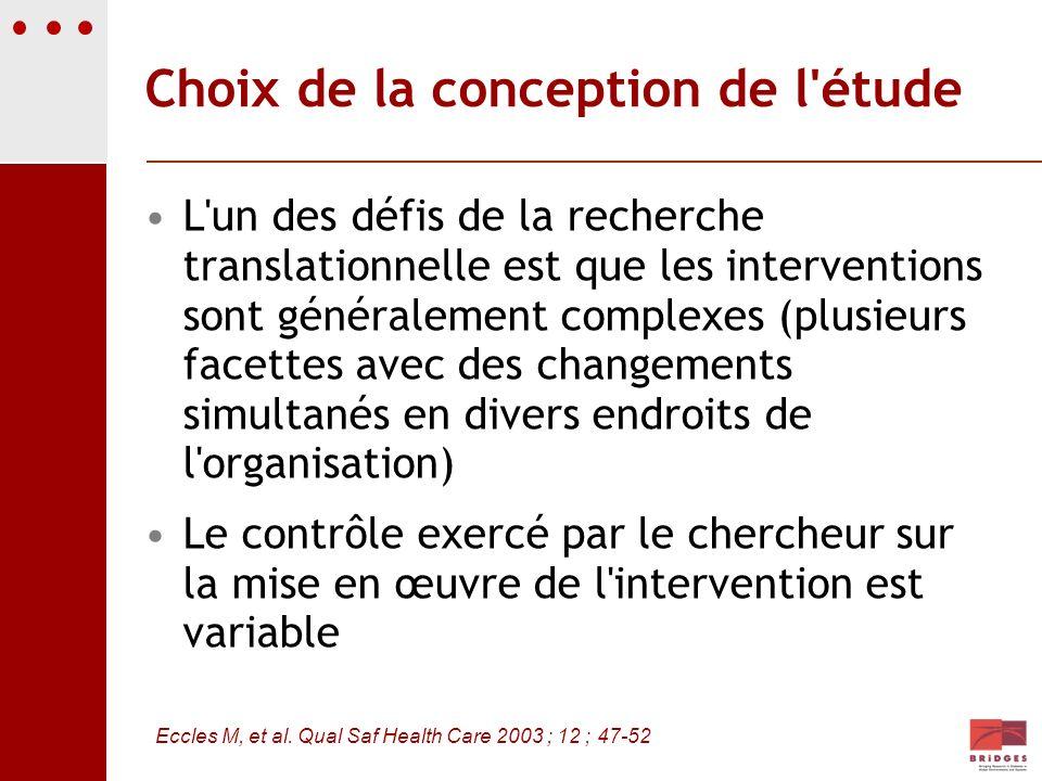 Choix de la conception de l'étude L'un des défis de la recherche translationnelle est que les interventions sont généralement complexes (plusieurs fac