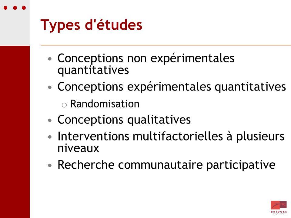 Types d'études Conceptions non expérimentales quantitatives Conceptions expérimentales quantitatives o Randomisation Conceptions qualitatives Interven