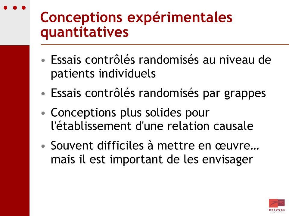 Conceptions expérimentales quantitatives Essais contrôlés randomisés au niveau de patients individuels Essais contrôlés randomisés par grappes Concept