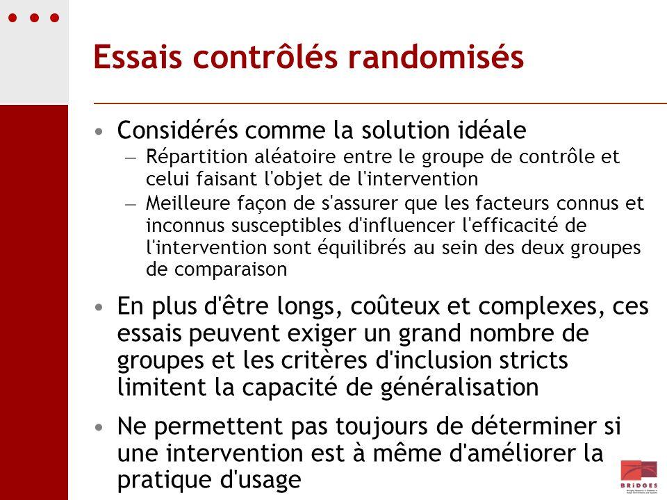 Essais contrôlés randomisés Considérés comme la solution idéale – Répartition aléatoire entre le groupe de contrôle et celui faisant l'objet de l'inte