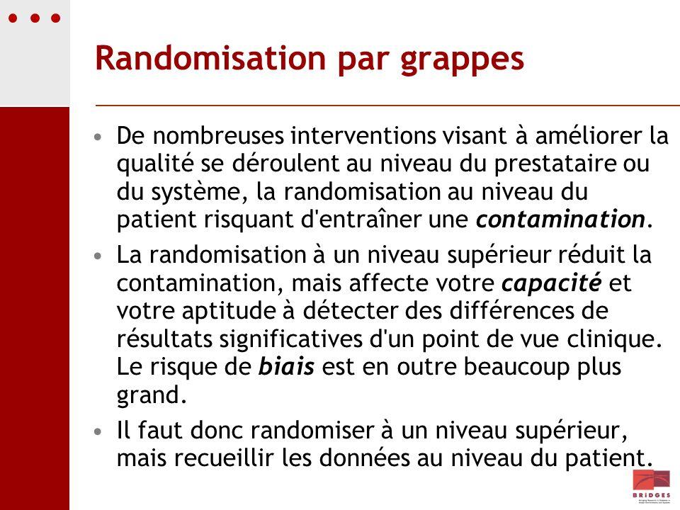 Randomisation par grappes De nombreuses interventions visant à améliorer la qualité se déroulent au niveau du prestataire ou du système, la randomisat