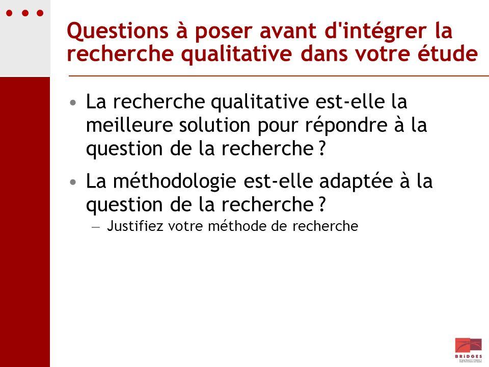 Questions à poser avant d'intégrer la recherche qualitative dans votre étude La recherche qualitative est-elle la meilleure solution pour répondre à l
