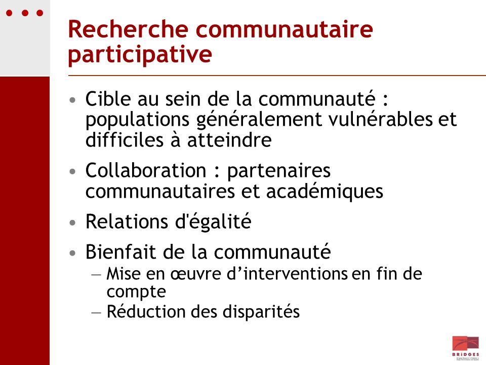 Recherche communautaire participative Cible au sein de la communauté : populations généralement vulnérables et difficiles à atteindre Collaboration :