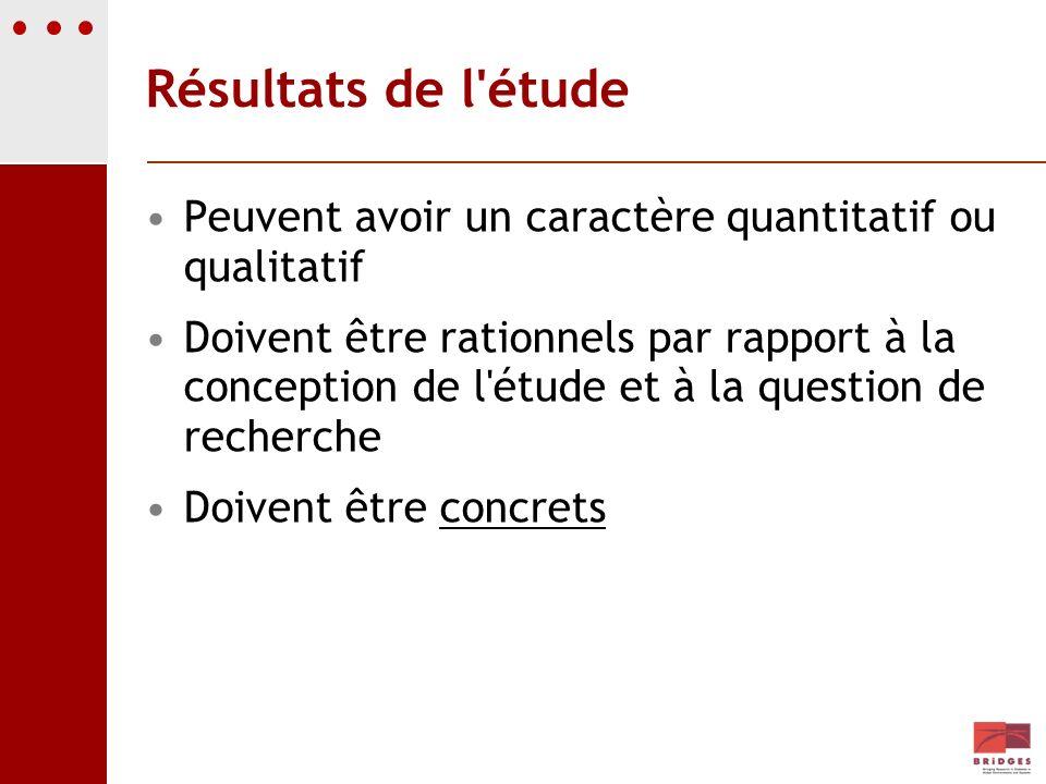 Résultats de l'étude Peuvent avoir un caractère quantitatif ou qualitatif Doivent être rationnels par rapport à la conception de l'étude et à la quest