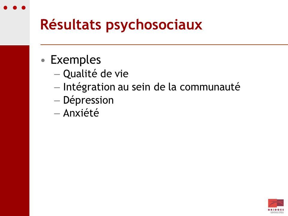 Résultats psychosociaux Exemples – Qualité de vie – Intégration au sein de la communauté – Dépression – Anxiété