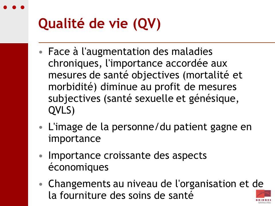Qualité de vie (QV) Face à l'augmentation des maladies chroniques, l'importance accordée aux mesures de santé objectives (mortalité et morbidité) dimi