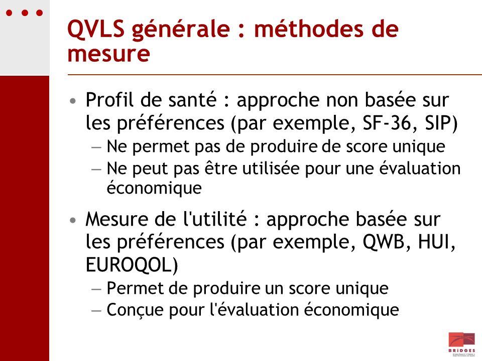 QVLS générale : méthodes de mesure Profil de santé : approche non basée sur les préférences (par exemple, SF-36, SIP) – Ne permet pas de produire de s