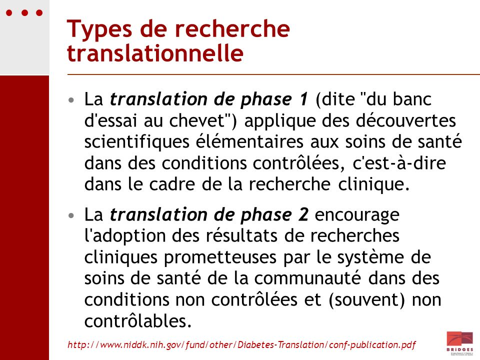 Types de recherche translationnelle La translation de phase 1 (dite