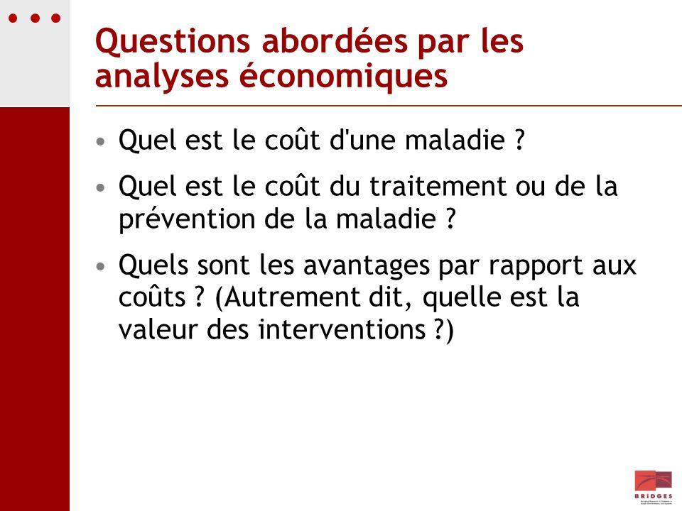 Questions abordées par les analyses économiques Quel est le coût d'une maladie ? Quel est le coût du traitement ou de la prévention de la maladie ? Qu