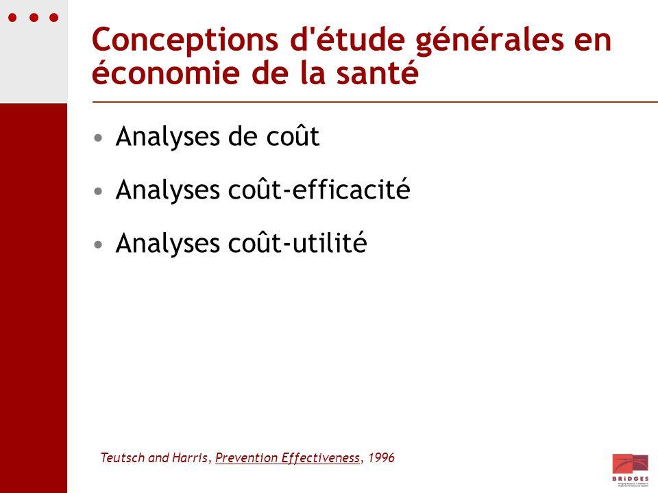 Conceptions d'étude générales en économie de la santé Analyses de coût Analyses coût-efficacité Analyses coût-utilité Teutsch and Harris, Prevention E