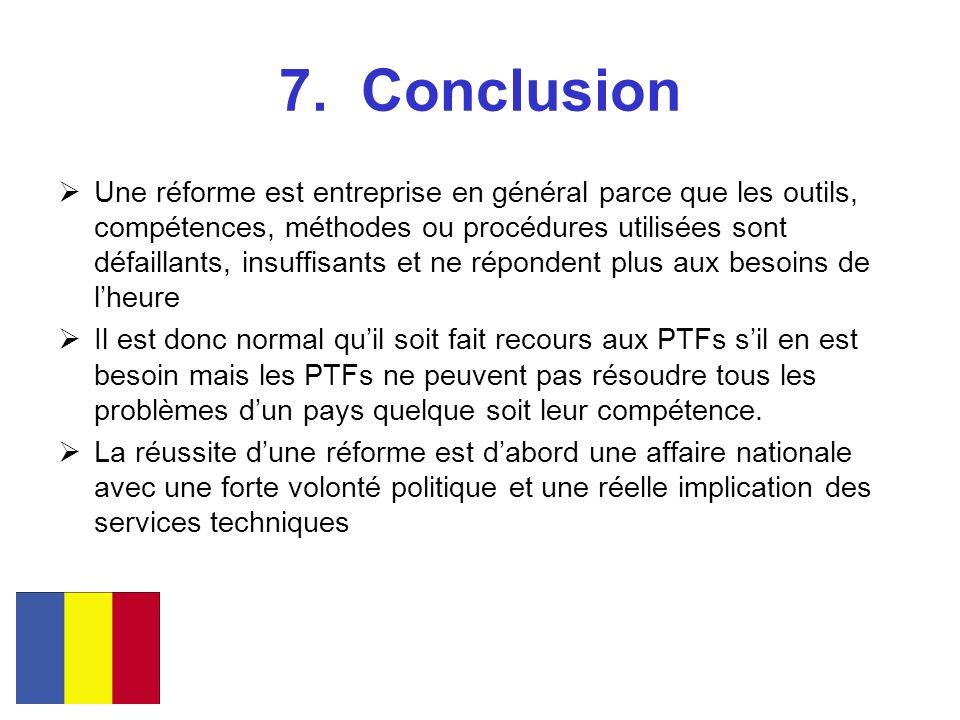 7. Conclusion Une réforme est entreprise en général parce que les outils, compétences, méthodes ou procédures utilisées sont défaillants, insuffisants