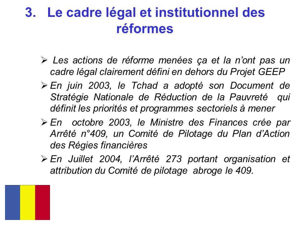 3. Le cadre légal et institutionnel des réformes Les actions de réforme menées ça et la nont pas un cadre légal clairement défini en dehors du Projet