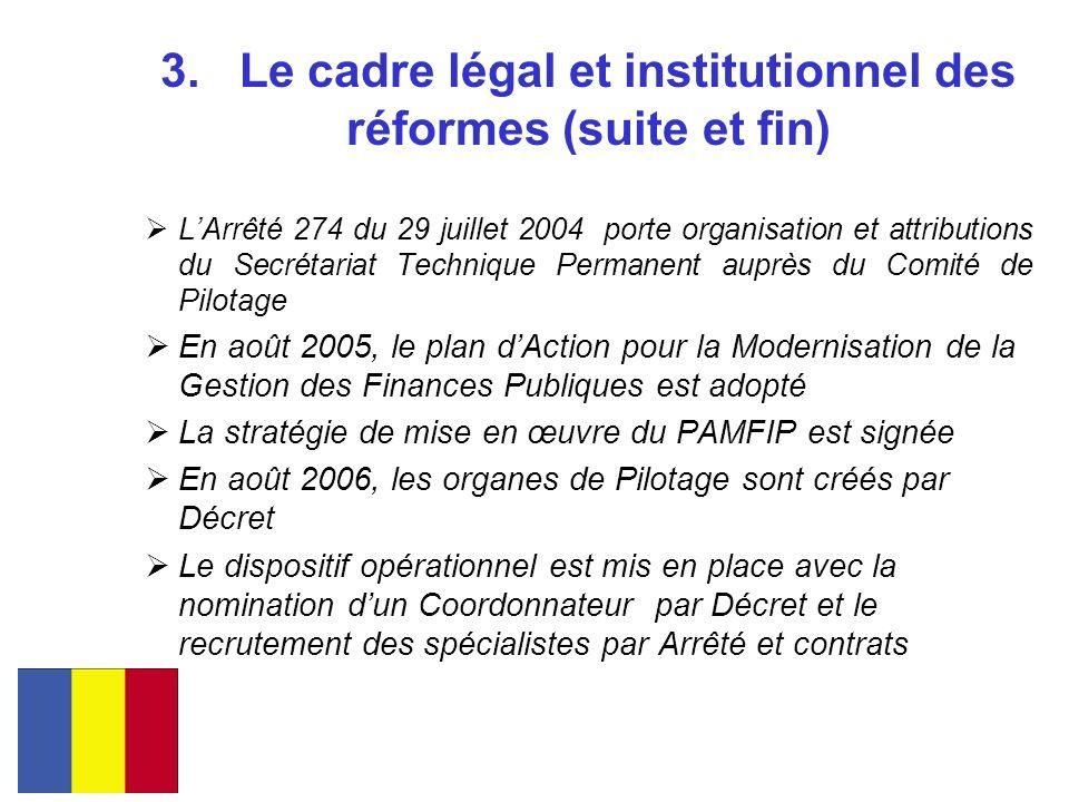 3. Le cadre légal et institutionnel des réformes (suite et fin) LArrêté 274 du 29 juillet 2004 porte organisation et attributions du Secrétariat Techn