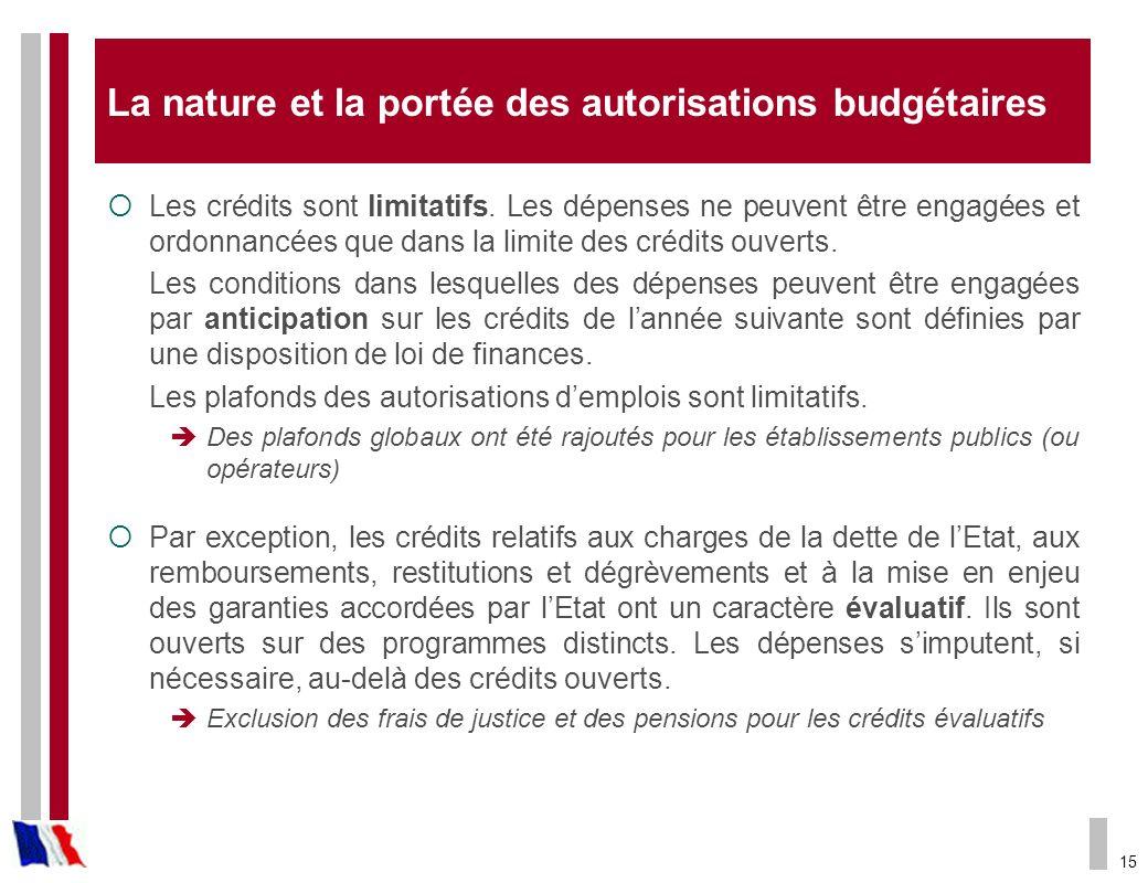 15 La nature et la portée des autorisations budgétaires Les crédits sont limitatifs. Les dépenses ne peuvent être engagées et ordonnancées que dans la
