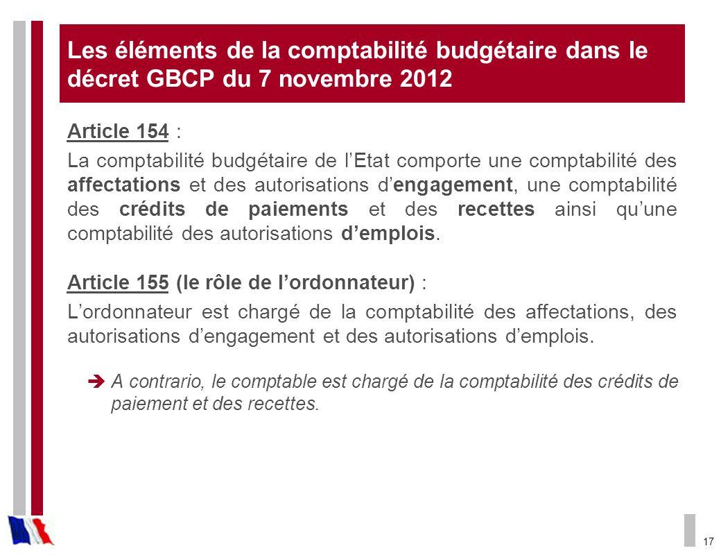 17 Les éléments de la comptabilité budgétaire dans le décret GBCP du 7 novembre 2012 Article 154 : La comptabilité budgétaire de lEtat comporte une co
