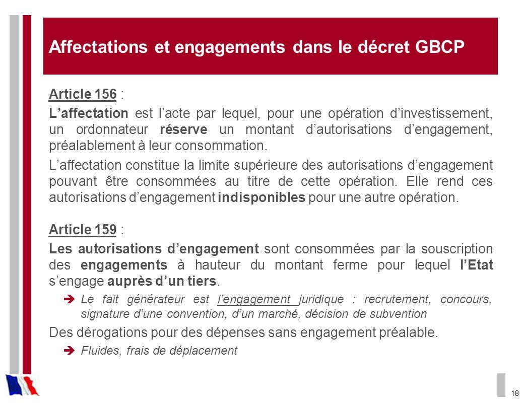 18 Affectations et engagements dans le décret GBCP Article 156 : Laffectation est lacte par lequel, pour une opération dinvestissement, un ordonnateur