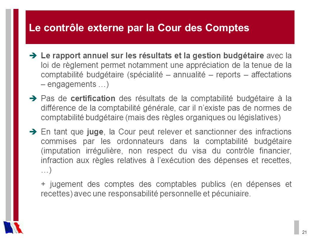 21 Le contrôle externe par la Cour des Comptes Le rapport annuel sur les résultats et la gestion budgétaire avec la loi de règlement permet notamment