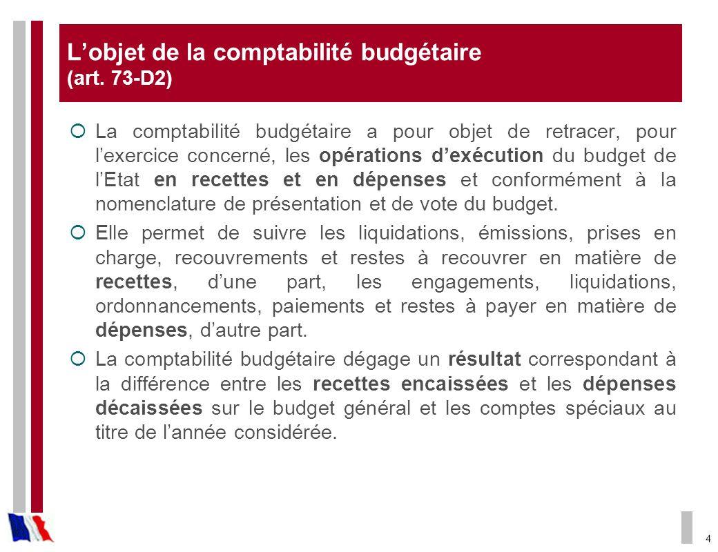 4 Lobjet de la comptabilité budgétaire (art. 73-D2) La comptabilité budgétaire a pour objet de retracer, pour lexercice concerné, les opérations dexéc
